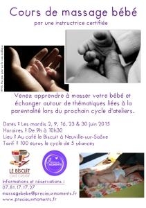 Cours de massage bébé Neuville sur Saône
