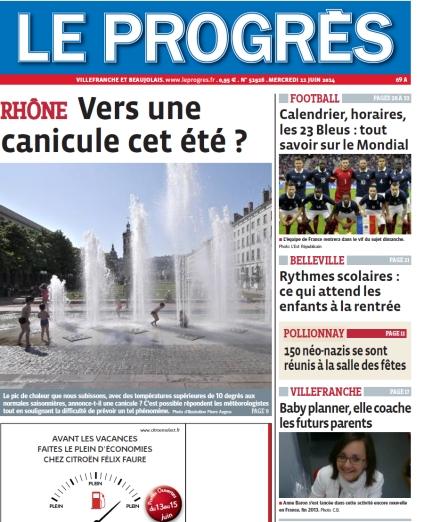 Une le Progres de Villefranche-Beaujolais 11 juin 2014