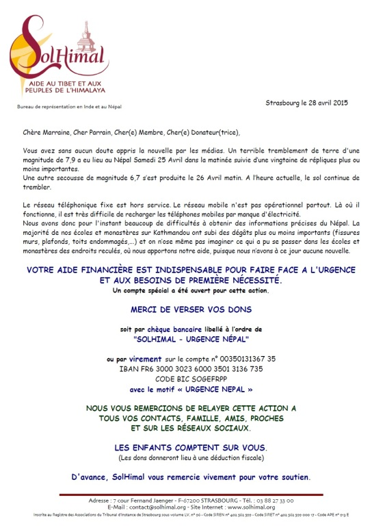 Urgence Nepal Seisme don